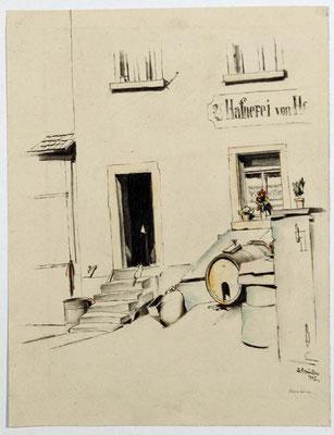 Schindler 1927 Haustüre. Eingang zur Hafnerei von H... Aquarellierte Feder.