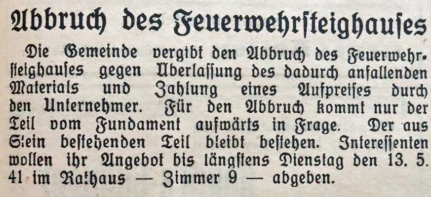 13.5.1941 Abbruch des Feuerwehrsteighaus