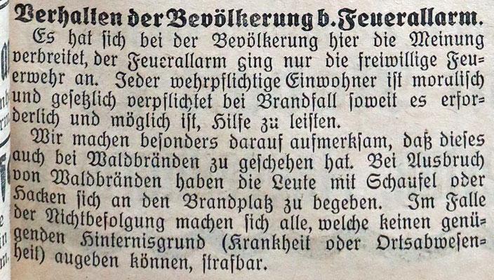 26.3.1927 Verhalten bei Feueralarm, Pflicht zur Hilfe