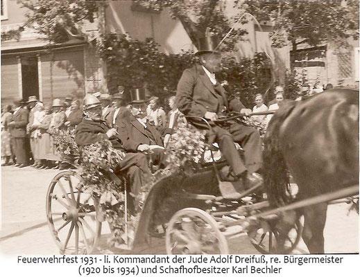 Stiftungsfest 1931, li der Kommandant Jude Adolf Dreifuß, re Bürgermeister Karl Bechler
