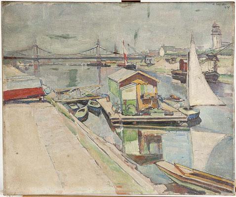 Kunsthalle Mannheim Bootsanlegestelle Friedrichsbrücke 1928