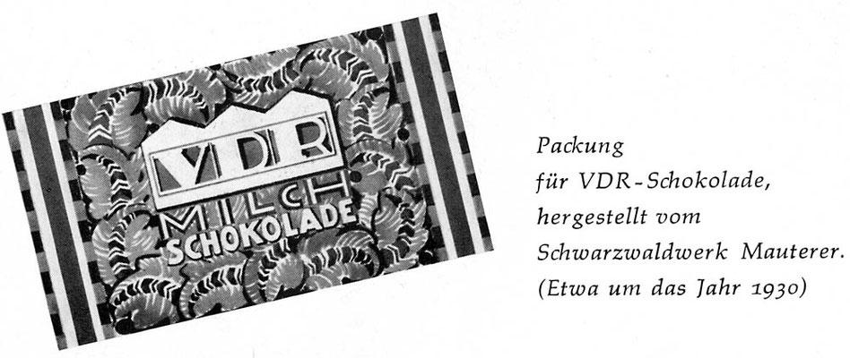 1930 Werbung VDR-Schokolade