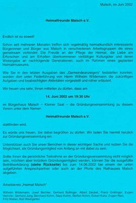 Einladungsflugblatt zur Gründung am 14. Juni 2002
