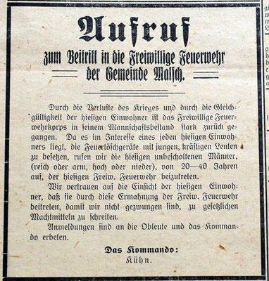 1920 Aufruf zum Beitritt