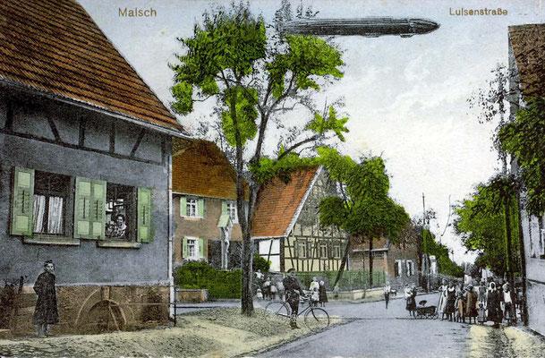 Richard Wagner Straße, Muggensturmerstraße Kreuzstraße mit Zeppelin coloriert