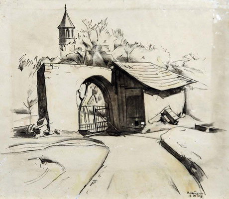 Schindler 1907 Blick auf Torbogen und Kirche. Lavierte Feder