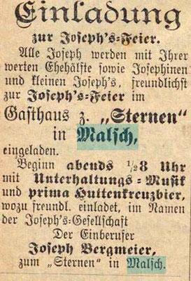 1905 Josefstag im Sternen