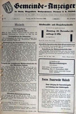 16.12.1960 Aufruf Lehrgang Gründung Schülerkapelle