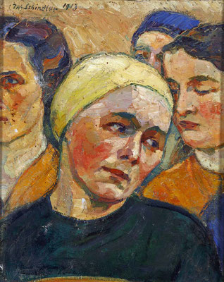 1913 Portrait der Mathilde Schindler vor drei weiteren Frauen