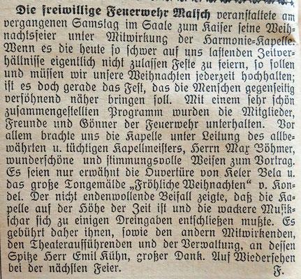 13.1.1926 Weihnachtsfeier Kaisersaal mit Harmonikapelle