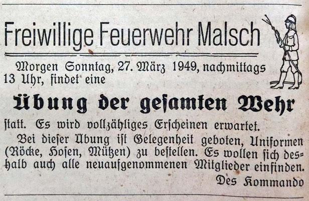 27.3.1949 Übung der Wehr