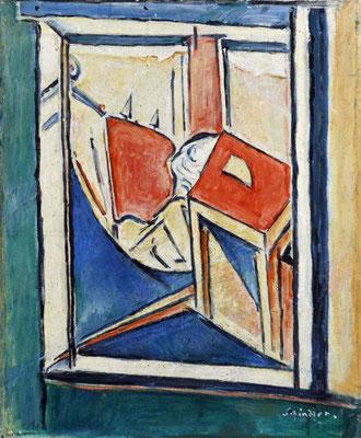 Schindler 1949. Blick durch Fenster in ein Zimmer