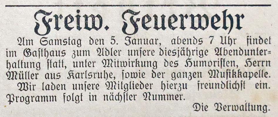 2.1.1924 Festlichkeiten Geselligkeit