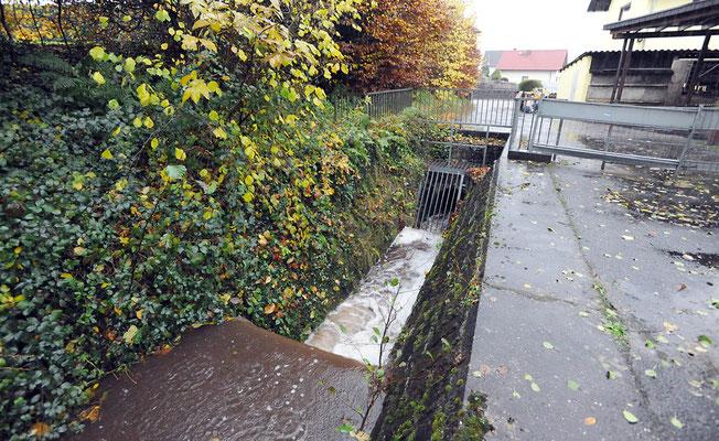 Tannelbach/Kaufmannsbrunnenbach, Beginn der Verdolung (2017) Durch Verstopfungen bei Hochwasser durch Äste, Bäume u.a. große Gefahrenquelle.