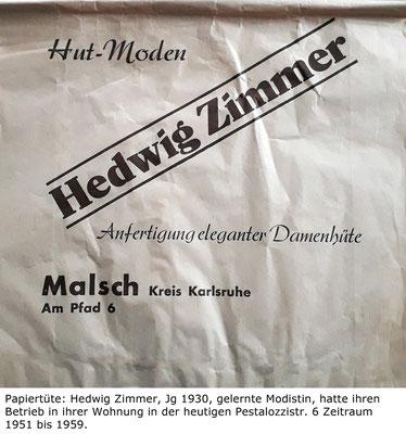Noch andere Hutmacher in Malsch, Hedwig Zimmer