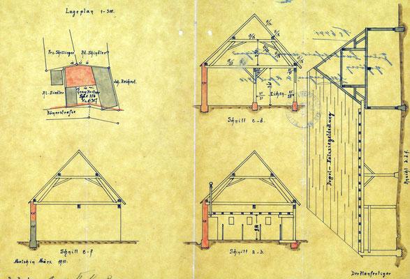 Bauakte Lagererweiterung 1910, GLA