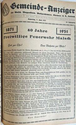 9.6.1951 80 Jahre Feuerwehr