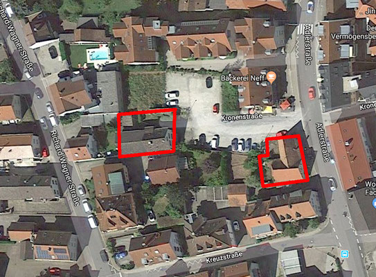 Links Haus Nr. 72, rechts vorne Scheuer Essl