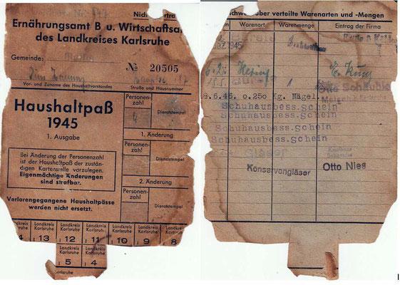 Haushaltpaß 1945 Pius Hornung