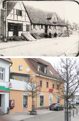 Hauptstraße, ehemaliges Gasthaus Rössle, später alte Sparkasse, heute NKD