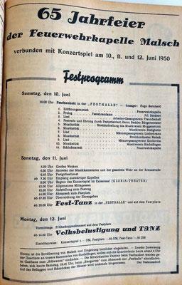 10.6.1950 65 Jahre Jubiläum Programm