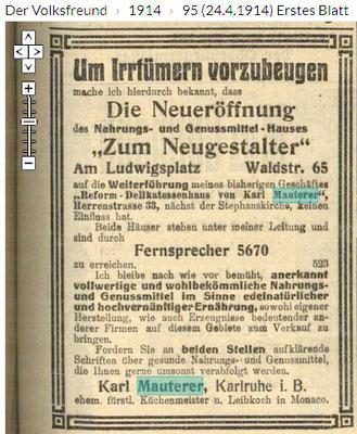 Volksfreunde 24.4.1914, Zweites Geschäft
