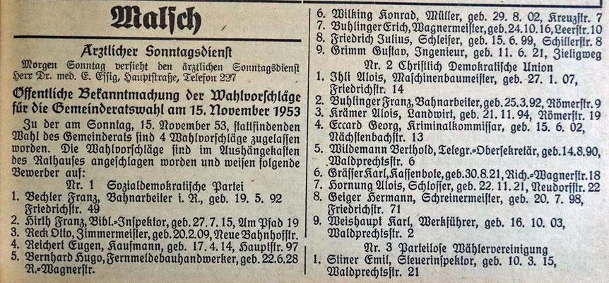 14.11.1953 Gemeindewahl