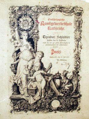 Auszeichnung an Theodor Schindler 1890