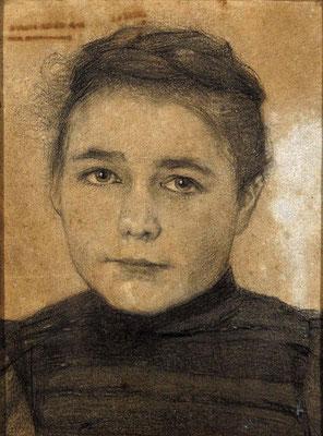 Schindler Mathilde Schindler geb. Göller, etwa 1898. Zeichnung Kohle