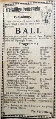 16.4.1924 Feuerwehr Übung und Generalversammlung im Rathaussal