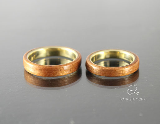 Holzringe Gold Kirsche Ehering