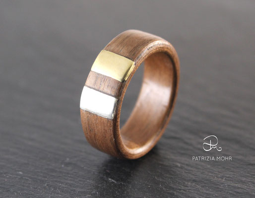 Holzring - Bentwoodring Silber und Gold