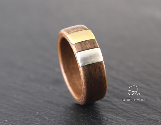 Holzring Silber Gold