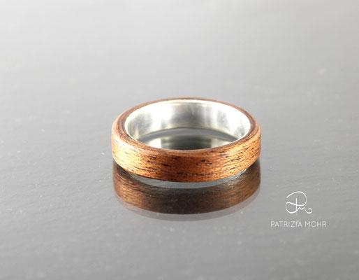 Holzring Silber Mahagoni Ehering
