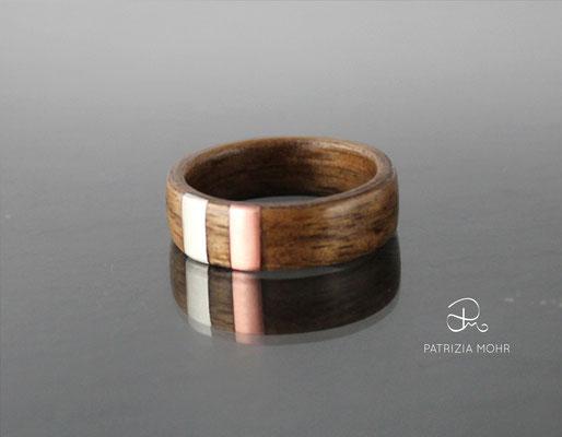 Holzring Silber Kupfer
