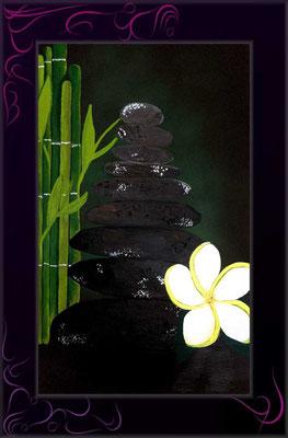 zen, steinturm, für meditation, balance, zur ruhe kommen, acrylbild zen turm nach kundenwunsch gemalt - kunst meiner seele