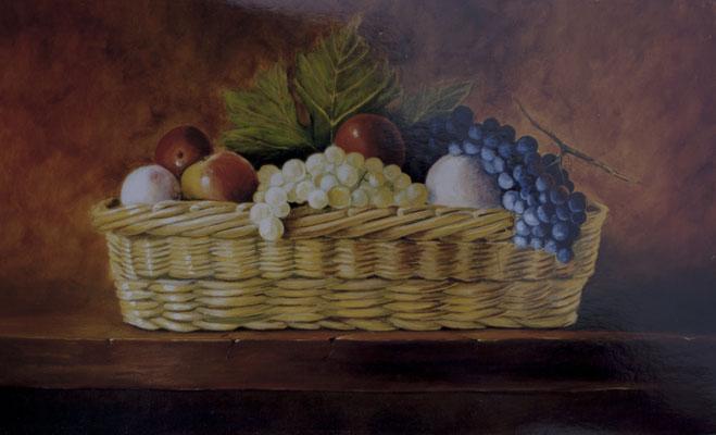 Panier de fruits d 'automne . Huile sur toile de Lin  ( réservé ).
