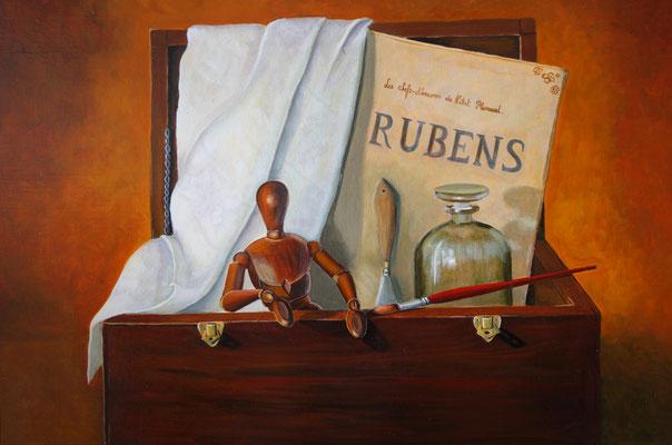 La boîte du peintre . Huile sur toile de Lin . 65 x 50 .