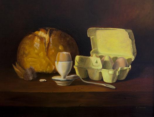 A la coque . Huile sur toile de Lin . 65 x 50 . 810 €