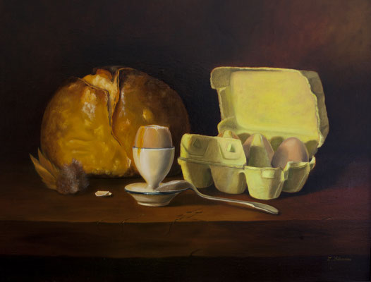 A la coque . Huile sur toile de Lin . 65 x 50 .