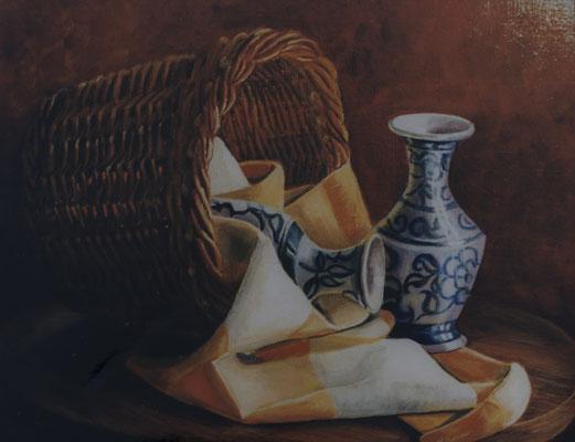 Les vases . Huile sur toile de Lin. ( vendu)