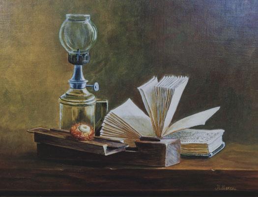 La lecture . Huile sur toile de Lin . ( vendu )