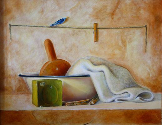La lessive . Huile sur bois . 46 x 38 . 560 €
