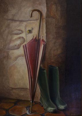 Aprés la pluie . Huile sur toile de Lin . 46 x 38 .