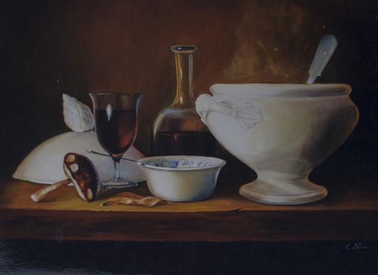 Potage d'automne . Huile sur toile de Lin. ( vendu )
