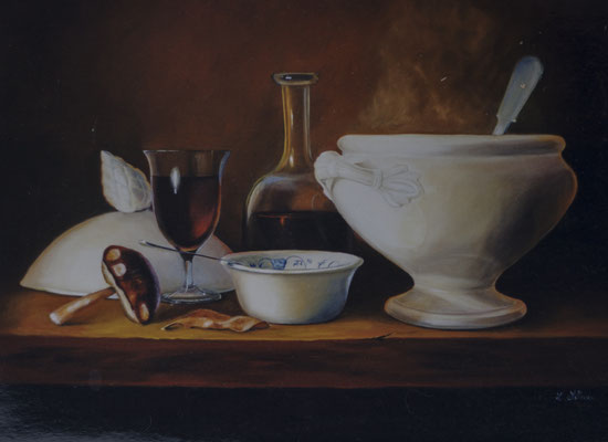 Potage d'automne . Huile sur toile de Lin. ( réservé)