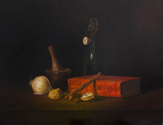 La cuisine . Huile sur toile de Lin . 65x50 cm .