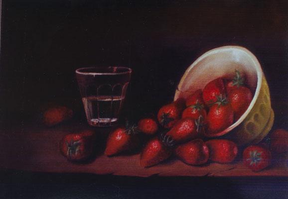 Délice de fraises . Huile sur toile de Lin. ( réservé)