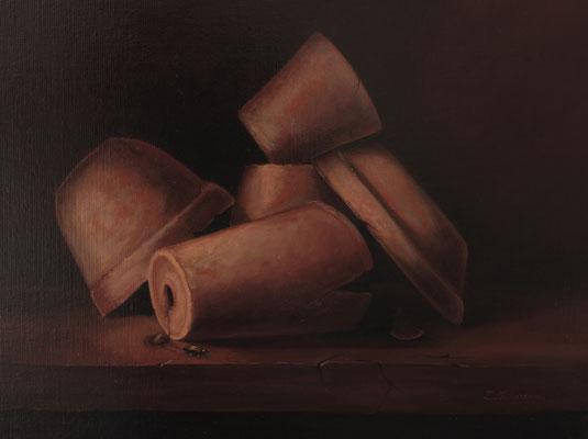 Les pots . Huile sur toile de Lin . ( vendu )
