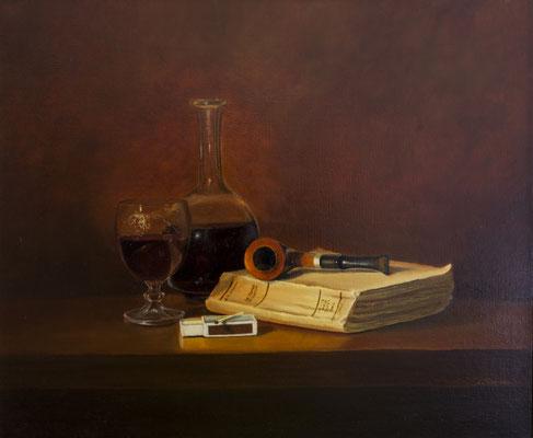 Natute morte à la pipe .  Huile sur toile de Lin . 65 x 50 . 810 € .(Vendu)